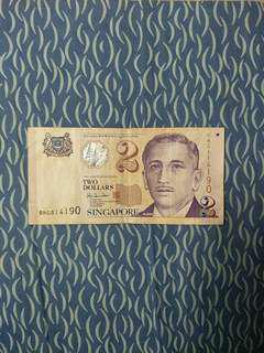 ❗❗0NG Prefix❗❗ Singapore $2 Paper Note