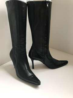 Sexy Gianni Milanesi Milano softest lamb black leather boots