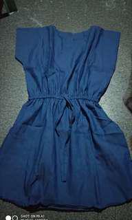Denim dress free size fits to large