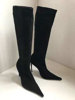 French Tall black suede brand new boots like a sock