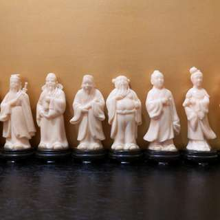 Vintage Hong Kong the eight immortals plastic figurine