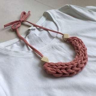 🚚 Handmade T-shirt yarn necklace - Cherry Blossom
