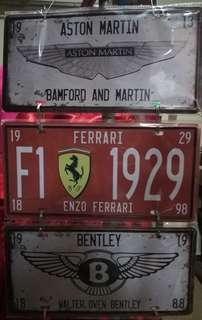 Vintage car plates