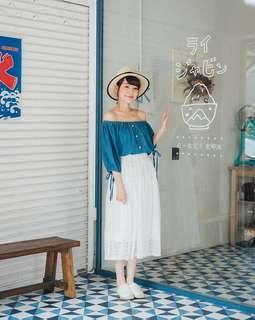 🚚 Queen shop 清新布蕾絲鬆緊長裙