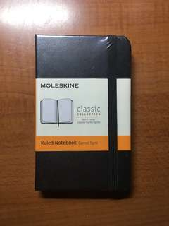 Authentic Moleskine Ruled Notebook black