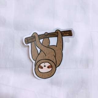 Hanging upside down sloth sticker