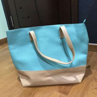 Mint green and beige colour tote shoulder bag