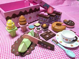 New ~ Wooden strawberry Chocolate Cafe playset