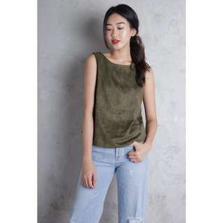 TTR Nelly suede tank top, olive