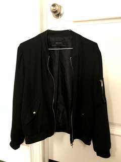 Zara Lightweight Black Bomber Jacket