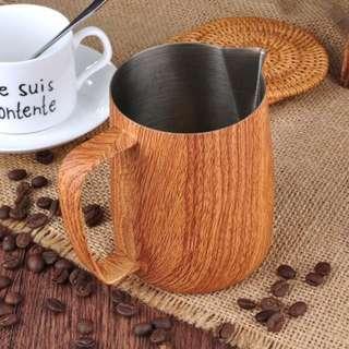 Latte Art Pitcher - Stainless Steel Wooden Design 350ml