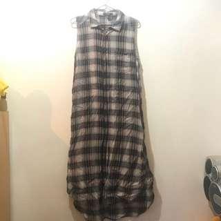 🚚 forever21 格子襯衫 長版 背心 洋裝
