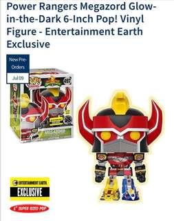 Pre Order: Funko Pop Entertainment Earth Exclusive Power Rangers Megazord