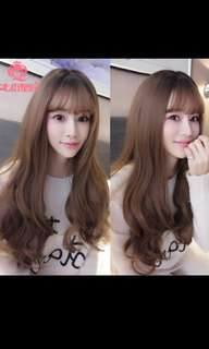 *NEW ARRIVAL!😍(NO INSTOCKS!) PREORDER Korean natural thin air bangs fluffy wavy long wig * waiting time 15 days after payment is made *chat to buy to order