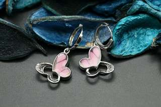 Navia Jewelry - Real Butterfly Wing Graphium weiskei Silver Earrings Korea