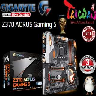 "Gigabyte Z370 AORUS Gaming 5  """"3 Years Warranty "" + Bundle Together with Intel LGA1151 Coffee Lake CPU..., Type of CPU price shown below..."