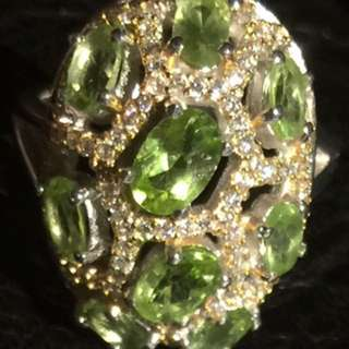 Peridot Sterling Silver Ring 天然橄欖石純銀戒指