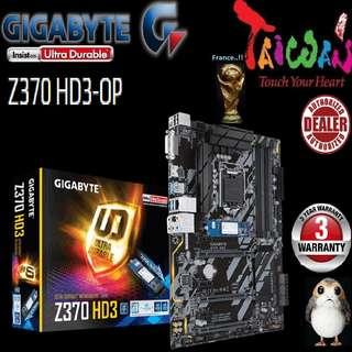 "Gigabyte Z370 HD3-OP.., "" 3 Years Warranty "" + Bundle Together with Intel LGA1151 Coffee Lake CPU..., Type of CPU price shown below..."