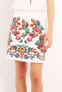 Floral embroidered white skirt