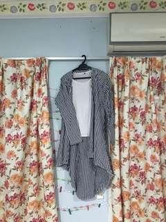 Fishtail Striped Long Cotton Cardigan