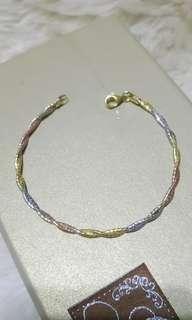 🍓義大利純銀三色金交叉纏繞手鍊手環