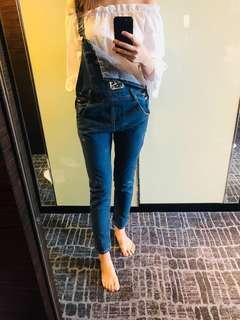 Korea top and jumpsuit 工人褲 吊帶褲 連身褲 off shoulder 3 way