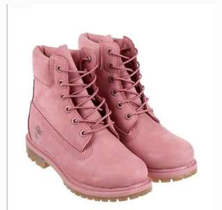 REAL and new 37 Timberland pink boot with box and 原裝包裝紙 生膠底