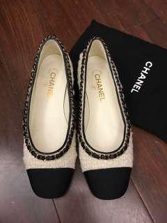 2017-8 Chanel Tweed Flats Sz37