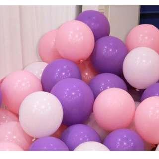🚚 (In Stock)100pcs Balloons Set(purple,light pink n white)
