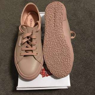 Brand new Superga total pink leather sneakers