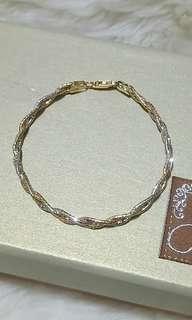 💯全新 義大利純銀三色金纏繞編織手鍊