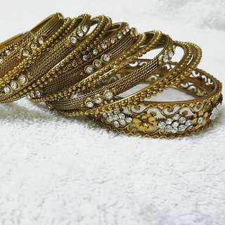 Bracelet bangles brass color