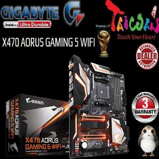 "Gigabyte X470 AORUS GAMING 5 WIFI.., "" 3 Years Warranty "" + Bundle Together with AMD X470.., AMD Ryzen™ processor..., AM4 Socket,  Type of CPU price shown below..."