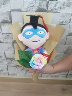 Superman graduation bouquet with rainbow rose