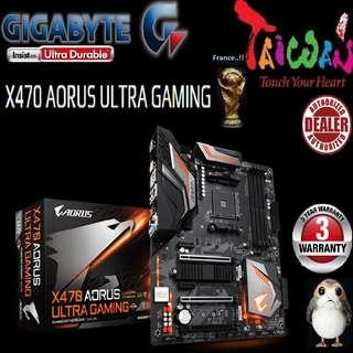 "Gigabyte X470 AORUS ULTRA GAMING..,  "" 3 Years Warranty "" + Bundle Together with AMD X470.., AMD Ryzen™ processor..., AM4 Socket,  Type of CPU price shown below..."