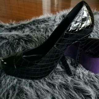 Size 35 Peep Toe Brand Black Shoes As New For Formal And Special  Occasion Including Postage