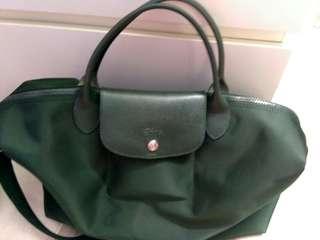 Authentic emerald green longchamp handbag