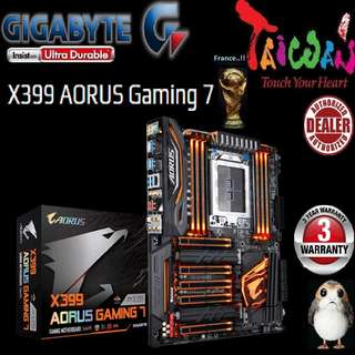 "Gigabyte X399 AORUS Gaming 7.., "" 3 Years Warranty "" + Bundle Together with AMD Ryzen™ processor..., AM4 Socket,  Type of CPU price shown below..."
