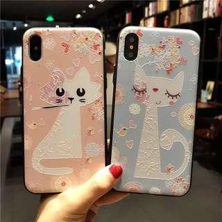 韓國直送!可愛貓貓雕花iPhone case
