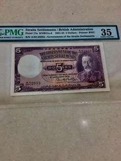 1931 Straits Settlement PMG 5 Dollar