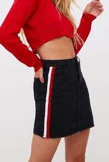 Black Denim Skirt w/ red white stripes