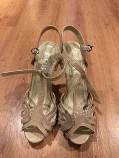 Nude high-heel sandals