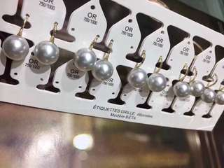 18K金天然珍珠耳環