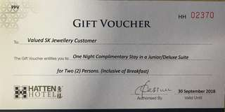 🚚 Voucher for 1 night junior suite stay in Hatten Hotel Malacca