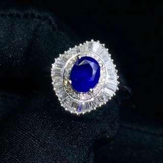 18K天然藍寶石+南非大梯鑽石戒指吊墜兩用款 附CGL國際證書