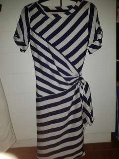 Blue and White Knee Length Dress
