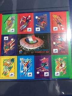 只限兩張 1998 法國世界盃主辦國 小版張 郵票