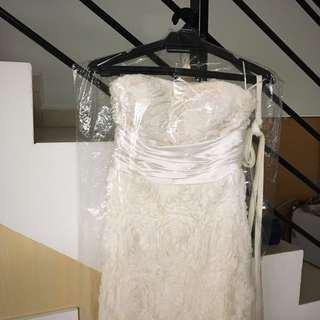 [RENT] chiffon flowers wedding gown with fish tale