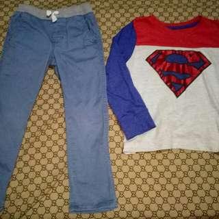Take SuperMan Longsleeve&Pants(Size 5-6y/o)