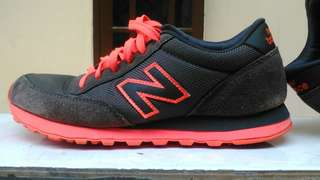 New Balance NB 501 grey orange suede ori Indo